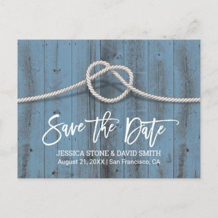 Dusty Blue Tying the Knot Wedding Save the Date Announcement