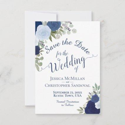 Dusty Blue Watercolor Floral Elegant Boho Wedding Save The Date