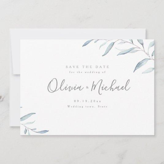 Dusty blue watercolor greenery save the date