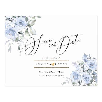 Dusty Blue Watercolor Roses