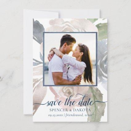 Dusty Floral Frame | Blue Cream Pink Wedding Photo Save The Date