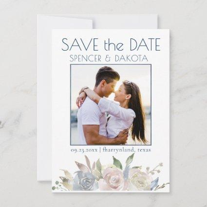Dusty Floral Garland | Blue Yellow Pink Photo Save The Date