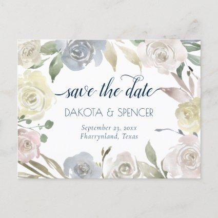 Dusty Floral Wreath | Blue Pink Yellow Wedding Announcement
