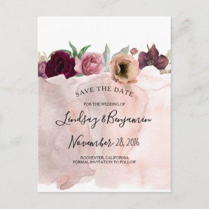 Dusty Pink and Burgundy Red Floral Save the Date Announcement