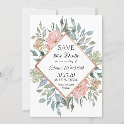 Dusty Pink Blue Foliage Floral Save the Date