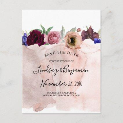 Dusty Pink Navy Burgundy Red Floral Save the Date Announcement