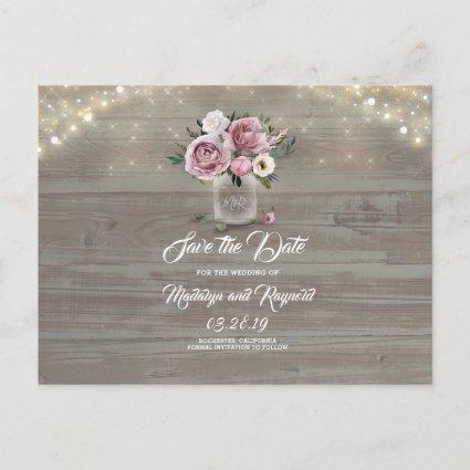 Dusty Pink Rose Floral Mason Jar Save the Date Announcement