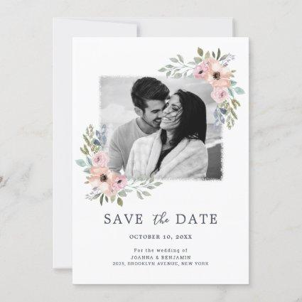 Dusty Pink Roses Midsummer Floral Save the Date