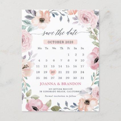 Dusty Pink Roses Midsummer Floral Save the Date Announcement