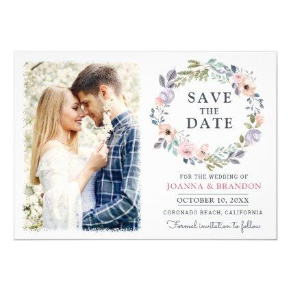 Dusty Pink Roses Midsummer Floral Save the Date Invitation