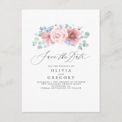 Dusty Rose and Dusty Blue Floral Save the Date Announcement