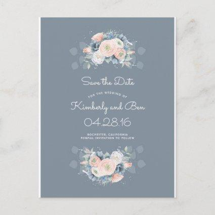 Dusty Rose and Pale Blue Floral Save the Date Announcements Cards