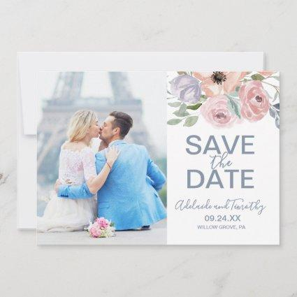 Dusty Rose Florals Photo Save the Date Card