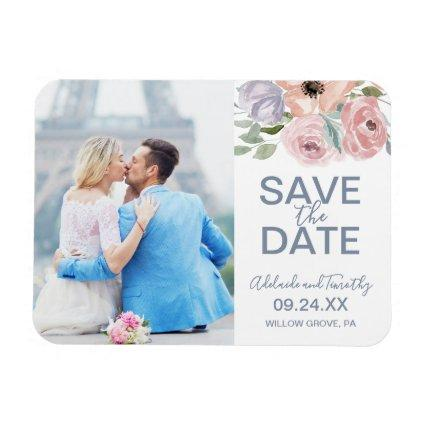 Dusty Rose Florals Photo Save the Date Magnet