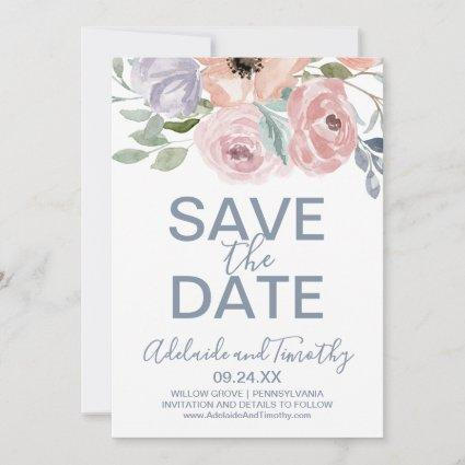 Dusty Rose Florals Save the Date Card