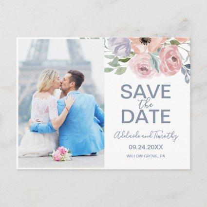 Dusty Rose Florals Save the Date Photo