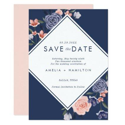 Dusty Rose Watercolor Floral Modern Navy Wedding Invitation