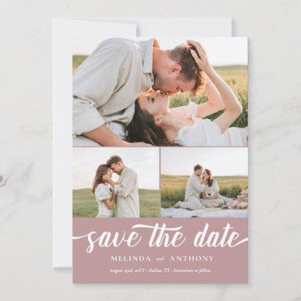 Dusty Rose White Elegant Bold Script Photo Collage Save The Date