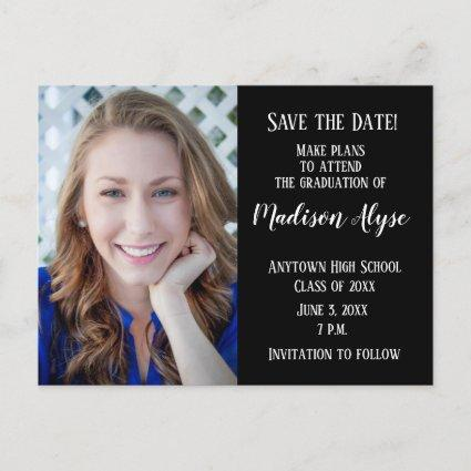 Editable Color Black Photo Graduation Save Date Announcements Cards