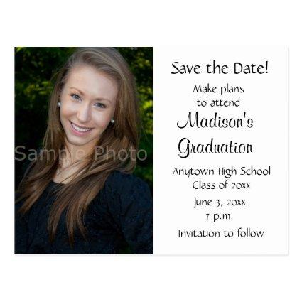 Editable Color Custom Photo Graduation Save Date Cards