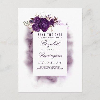 Eggplant Floral Elegant Save the Date Announcement