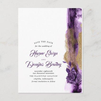 Eggplant Purple and Gold Glitter Save the Date Announcement