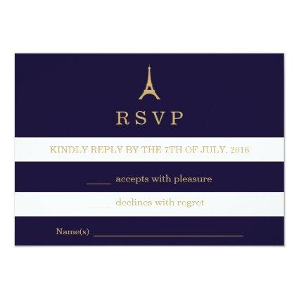 Eiffel Tower gold with stripes RSVP Card
