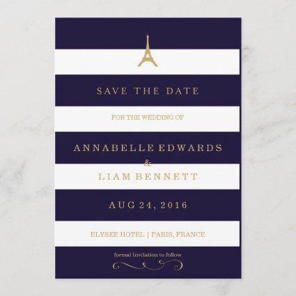 Eiffel Tower gold with stripes Save the Date Card