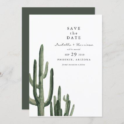 Eleanor - Minimal Saquaro Cactus Save the Date Invitation