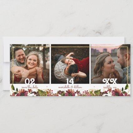 Elegant 3 Photo Burgundy Gold Watercolor Floral Save The Date