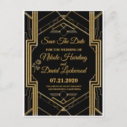 Elegant Art Deco Gatsby Save The Date Card