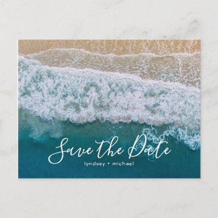 Elegant Beach Blue Ocean Save the Date Announcement