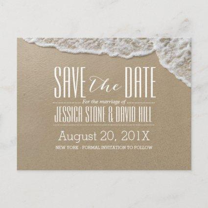 Elegant Beach & Sea Water Wedding Save the Date Announcement
