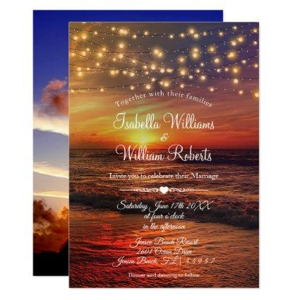 Elegant Beach String Lights Summer Wedding Photo Invitation