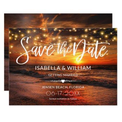 Elegant Beach Summer Wedding Save the Date Card