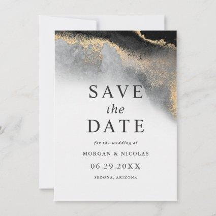 Elegant Black and Gold Marble Photo Save the Date