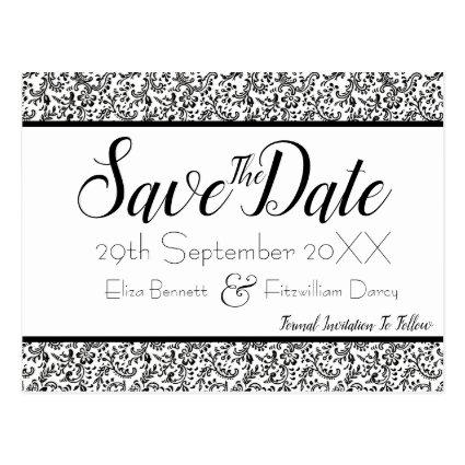 Elegant Black and White Floral Save the Date Cards