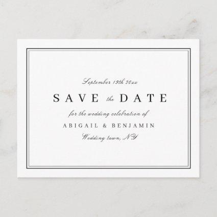 Elegant black and white minimalist save the date announcement