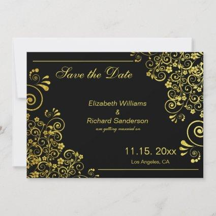 Elegant Black  Gold Save the Date  Wedding