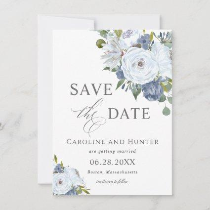 Elegant Blue and White Floral Save the Date