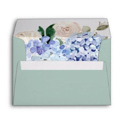 Elegant Blue Hydrangea | Green Wedding Invitation Envelope