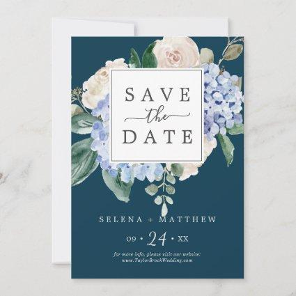 Elegant Blue Hydrangea | Navy Save the Date Card