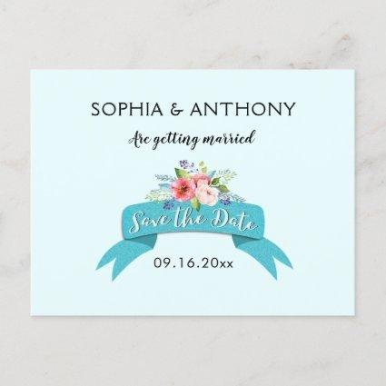 Elegant Blue Ribbon and Floral Save the Date Announcements Cards