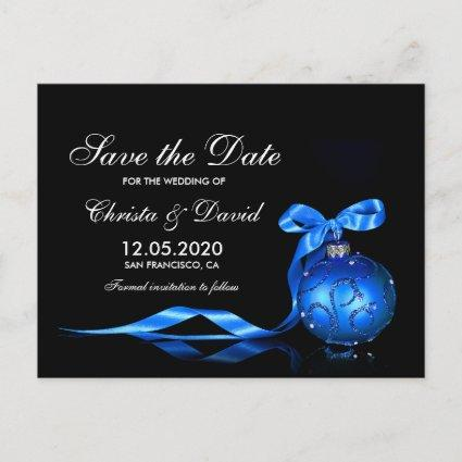 Elegant Blue Silver Christmas Save The Date Announcement