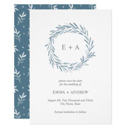 Elegant Blue Wreath Save the Date - Back Pattern Invitation