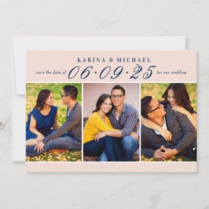 Elegant Blush and Navy Wedding Photo Collage Save The Date