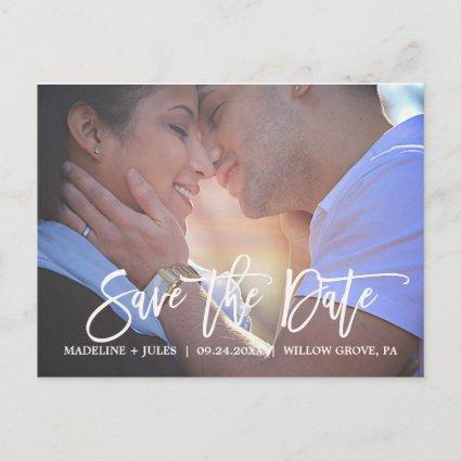 Elegant Blush Pink and Navy Save the Date Photo Announcement