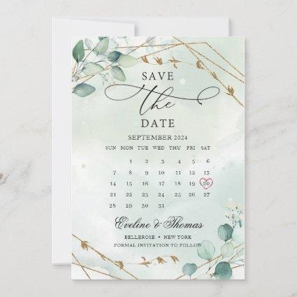 Elegant Boho Greenery Foliage Gold Geometric Save The Date