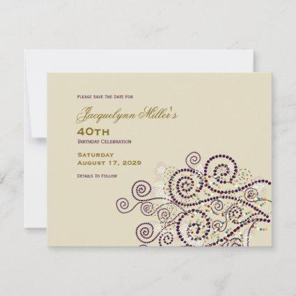 Elegant Boho Purple Spirals Ethnic Adult Birthday Save The Date