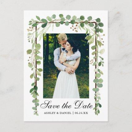 Elegant Botanical Green Photo Save The Date Announcement